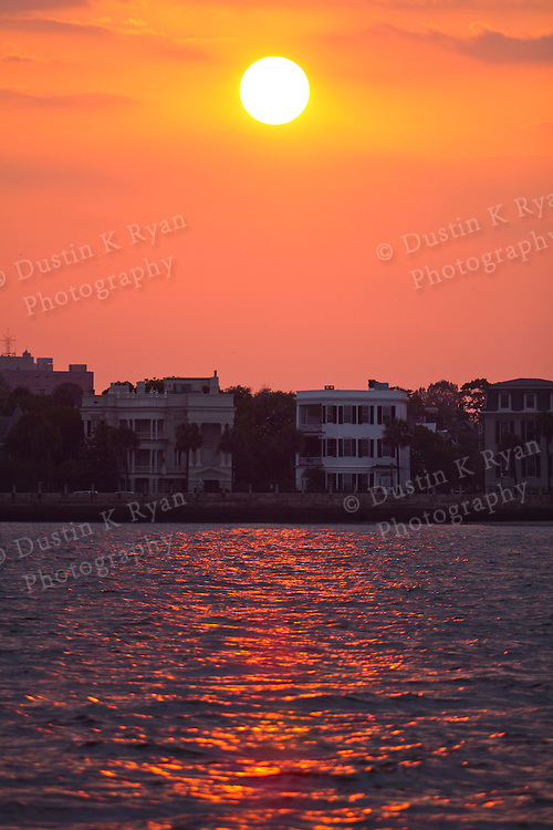 Charleston East Bay Street Battery Sunset on the Harbor Downtown Charleston South Carolina