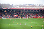Bristol City 1 Middlesbrough 0, 16/01/2016. Ashton Gate, Championship. A general view of Ashton Gate with the Clifton Suspension Bridge in the background pictured when Bristol City took on Championship leaders Middlesbrough. Ashton Gate is located in the south-west of the city, it currently has an all-seated capacity of 16,600, due to redevelopment, which will increase to a capacity of 27,000 by the start of the 2016-17 season. Bristol City won the game one goal to nil with a headed injury time winner. Photo by Simon Gill