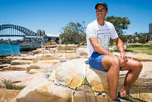 09.01.2017 Sydney, Australia.  World No. 9 Rafael Nadal (ESP) pictured in front of Sydney Harbour Bridge prior to the FAST4 Showdown Australian versus Rest of the World team  to be played at the International Convention Center in Sydney. Fast4 Tennis has been described as the Tennis version of cricket's Twenty20.