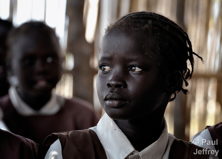 A girl in a classroom in Detang, a small village across the Upper Nile River from Malakal, in Southern Sudan. Teachers in this school are participating in a training program run by Solidarity with Southern Sudan, an international network of Catholic groups supporting Southern Sudan with educational personnel and prayer. NOTE: In July 2011 Southern Sudan became the independent country of South Sudan.