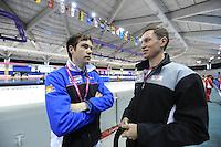 SCHAATSEN: Calgary: Essent ISU World Sprint Speedskating Championships, 28-01-2012, SportNavigator.nl, Sander Jansen, Jeremy Wotherspoon, KIA Speed Skating Academy, ©foto Martin de Jong