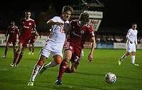 Blackpool's Max Clayton battles with Accrington Stanley's Reagan Ogle<br /> <br /> Photographer Alex Dodd/CameraSport<br /> <br /> EFL Checkatrade Trophy - Northern Section Group B - Accrington Stanley v Blackpool - Tuesday 3rd October 2017 - Crown Ground - Accrington<br />  <br /> World Copyright &copy; 2018 CameraSport. All rights reserved. 43 Linden Ave. Countesthorpe. Leicester. England. LE8 5PG - Tel: +44 (0) 116 277 4147 - admin@camerasport.com - www.camerasport.com