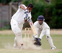 Chetan Patel bats for Hornsey during the Middlesex County Cricket League Division Three game between Hornsey and Highgate at Tivoli Road, Crouch End on Sat Aug 7, 2010.