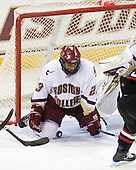 Malcolm Lyles (BC - 23) makes a save. - The Boston College Eagles defeated the Northeastern University Huskies 5-1 on Saturday, November 7, 2009, at Conte Forum in Chestnut Hill, Massachusetts.