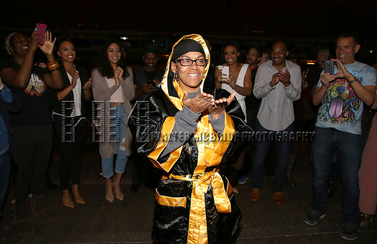 Production stage manager Lisa Dawn Cave during the Actors' Equity Opening Night Gypsy Robe Ceremony honoring Arbender Robinson for 'Shuffle Along' at The Music Box Theatre on April 28, 2016 in New York City.