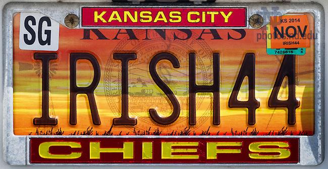 Apr. 22, 2014; License plate, Kansas, &quot;IRISH44&quot;<br /> <br /> Photo by Matt Cashore/University of Notre Dame
