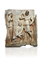 Roman Sebasteion relief  sculpture of Meleager and Atalante  Aphrodisias Museum, Aphrodisias, Turkey.    Against a white background.<br /> <br /> Meleager sits on a rock tying his sandal. Below him lies a fierce hunting dog with a broad collar. On one side a god or another hero wearing a rounded hat was crowning Meleager ( arm missing). On the other side stands the huntress Atalante, Meleager's lover: she wears a short dress and quiver, and lifts her cloak at the shoulder in a gesture of modesty.
