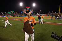 SAN FRANCISCO, CA - OCTOBER 2:  Matt Duffy #5 of the San Francisco Giants carries his plaque off the field after ceremonies honoring him with the Willie Mac Award, named after former Giants great Willie McCovey, before the game against the Colorado Rockies at AT&T Park on Friday, October 2, 2015 in San Francisco, California. Photo by Brad Mangin