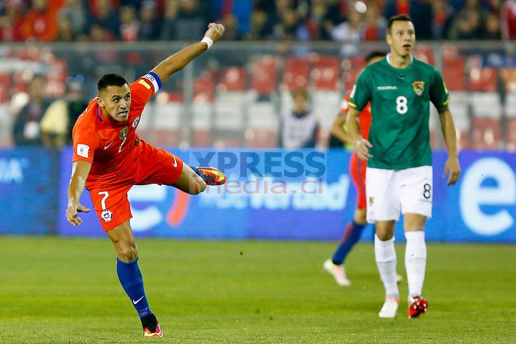 6 de Septiembre de 2016, SANTIAGO.<br /> Alexis Sanchez, durante el partido valido por la octava fecha de las Clasificatorias rumbo al Mundial de Rusia 2018 entre las Selecciones de Chile vs Bolivia, jugado en el estadio Nacional.<br /> FOTO: JAVIER VALDES LARRONDO /