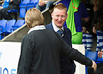St Johnstone v Motherwell.....19.05.13      SPL.Steve Lomas greets Stuart McCall.Picture by Graeme Hart..Copyright Perthshire Picture Agency.Tel: 01738 623350  Mobile: 07990 594431