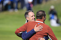 Luke Donald (Team Europe Vice-Captain) hugs Sergio Garcia (Team Europe) after he sinks his birdie putt to win the match on the 17th green during Saturday's Fourball Matches at the 2018 Ryder Cup 2018, Le Golf National, Ile-de-France, France. 29/09/2018.<br /> Picture Eoin Clarke / Golffile.ie<br /> <br /> All photo usage must carry mandatory copyright credit (&copy; Golffile | Eoin Clarke)