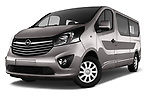 Stock pictures of low aggressive front three quarter view of 2016 Opel Vivaro Business 4 Door Combi Low Aggressive