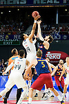 Real Madrid's player Gustavo Ayon and Barcelona's player Tomic during Liga Endesa 2015/2016 Finals 4th leg match at Barclaycard Center in Madrid. June 20, 2016. (ALTERPHOTOS/BorjaB.Hojas)