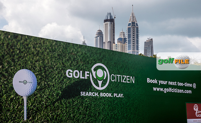 Backboard with a backdrop ahead of the 2016 Omega Dubai Desert Classic played at the Emirates Golf Club, Dubai, United Arab Emirates.  30/01/2016. Picture: Golffile | David Lloyd<br /> <br /> All photos usage must carry mandatory copyright credit (&copy; Golffile | David Lloyd)