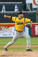 Biloxi Shuckers pitcher Josh Uhen (39) during a Southern League game against the Tennessee Smokies on May 25, 2017 at Smokies Stadium in Kodak, Tennessee.  Tennessee defeated Biloxi 10-4. (Brad Krause/Krause Sports Photography)