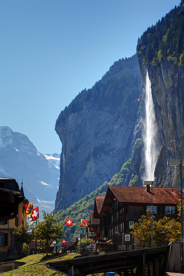 The 300m-­high Staubbach Falls falls above the Swiss village of Lauterbrunnen, Switzerland