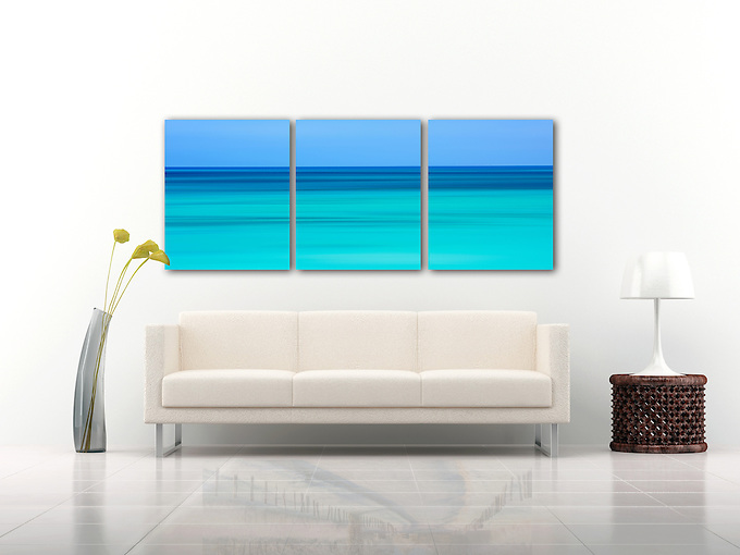 "Horizontal motion during the exposure is used to make this abstract photograph of the aquamarine waters of the West Indies. A mosaic arrangement of three prints displayed as a triptych (photograph is divided into three separate panels hung 1"" apart)"