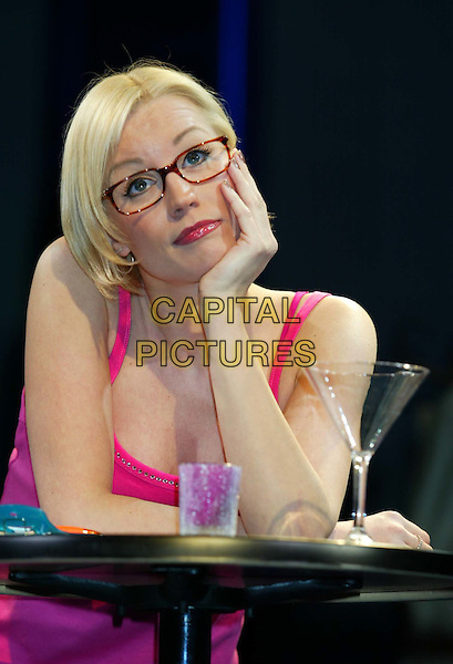 DENISE VAN OUTEN.Starring in Andrew Lloyd Webber's 'Tell Me On A Sunday' at the Gielgud Theatre, Shaftesbury Avenue, London.stage, glasses, chin on hand, half length, half-length.www.capitalpictures.com.sales@capitalpictures.com.© Capital Pictures