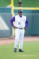 Winston-Salem Dash hitting coach Gary Ward (32) of the Winston-Salem Dash coaches third base during the game against the Myrtle Beach Pelicans at BB&T Ballpark on July 16, 2014 in Winston-Salem, North Carolina.  The Pelicans defeated the Dash 6-2.   (Brian Westerholt/Four Seam Images)