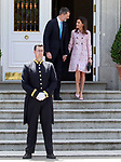 King Felipe VI of Spain and Queen Letizia of Spain receive President of Mexico Enrique Pena Nieto and his wife Angelica Rivera at the Zarzuela Palace. April 25,2015. (ALTERPHOTOS/Acero)