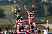 J. Chipman manages to tap back the ball at lineout time.  Counties Manukau Premier McNamara Cup rugby game between Pukekohe & Karaka played at Colin Lawrie Fields Pukekohe on July 14th, 2007. Pukekohe won 31 - 29.