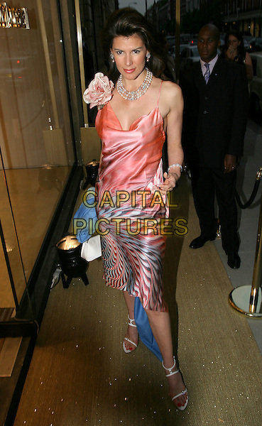 CHRISTINA ESTRADA.Roberto Cavalli - store launch party.May 13th, 2004.full length, full-length, pink, silk satin dress, flower corsage, pearls, jewellery.www.capitalpictures.com.sales@capitalpictures.com.© Capital Pictures.