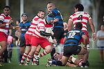 Russell Coutts makes a pick and go run from broken play for Karaka.  Counties Manukau Premier Club Rugby game between Karaka and Onewhero, played at Karaka, on Saturday April 26 2014. Karaka won the game 26 - 23 after trailing 7 - 8 at halftime  Photo by Richard Spranger