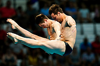 Picture by Rogan Thomson/SWpix.com - 17/07/2017 - Diving - Fina World Championships 2017 -  Duna Arena, Budapest, Hungary - Tom Daley and Dan Goodfellow of Great Britain compete in the Men's 10m Synchro Platform Final.