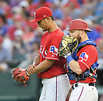 (L-R) Yu Darvish, Jonathan Lucroy (Rangers),<br /> APRIL 3, 2017 - MLB :<br /> Texas Rangers starting pitcher Yu Darvish talks with catcher Jonathan Lucroy during the opening day of the Major League Baseball game against the Cleveland Indians at Globe Life Park in Arlington in Arlington, Texas, United States. (Photo by AFLO)