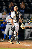 Bradenton Marauders catcher Jacob Stallings #5 during a game against the St. Lucie Mets on April 12, 2013 at McKechnie Field in Bradenton, Florida.  St. Lucie defeated Bradenton 6-5 in 12 innings.  (Mike Janes/Four Seam Images)