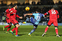 Sam Wood of Wycombe Wanderers (2nd right) attempts an overhead kick during the Sky Bet League 2 match between Wycombe Wanderers and Leyton Orient at Adams Park, High Wycombe, England on 17 December 2016. Photo by David Horn / PRiME Media Images.