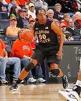 Florida State Seminoles forward Chasity Clayton (00) handles the ball during the game against Virginia Jan. 12, 2012 in Charlottesville, Va.  Virginia defeated Florida State 62-52.
