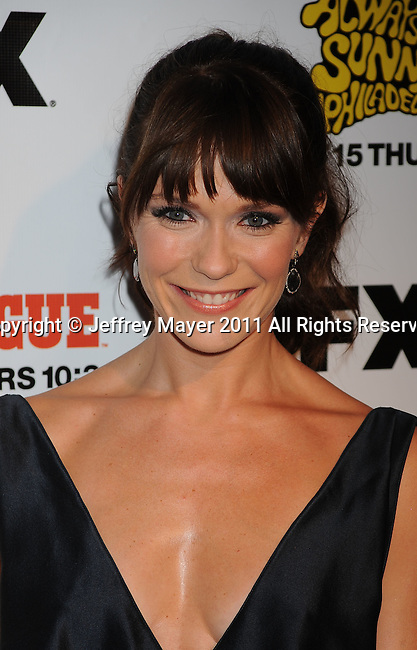 """HOLLYWOOD, CA - SEPTEMBER 13: Katie Aselton attends the FX Premiere for """"It's Always Sunny In Philadelphia"""" And """"The League"""" at ArcLight Cinemas Cinerama Dome on September 13, 2011 in Hollywood, California."""