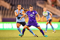 Orlando, FL - Saturday September 10, 2016: Erica Skroski, Lisa De Vanna during a regular season National Women's Soccer League (NWSL) match between the Orlando Pride and Sky Blue FC at Camping World Stadium.