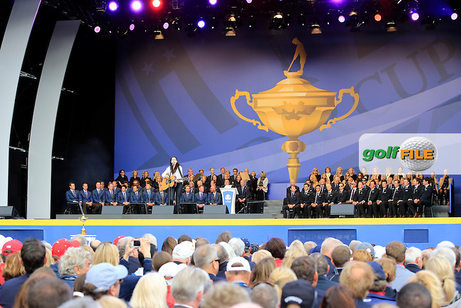 during the Opening Ceremony on Thursday at the 40th Ryder Cup, The Gleneagles Hotel, Perthshire from 26th to 28th September 2014<br /> Picture Eoin Clarke, www.golffile.ie