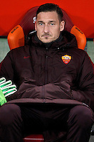 Calcio, Serie A: Roma vs Frosinone. Roma, stadio Olimpico, 30 gennaio 2016.<br /> Roma's Francesco Totti sits on the bench at the start of the Italian Serie A football match between Roma and Frosinone at Rome's Olympic stadium, 30 January 2016.<br /> UPDATE IMAGES PRESS/Isabella Bonotto