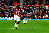 9th September 2017, bet365 Stadium, Stoke-on-Trent, England; EPL Premier League football, Stoke City versus Manchester United; Mame Biram Diouf of Stoke City takes a shot at goal