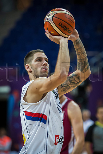 1st September 2017, Fenerbahce Arena, Istanbul, Turkey; FIBA Eurobasket Group D; Serbia versus Latvia; Guard Stefan Jovic #24 of Serbia performs free throw during the match