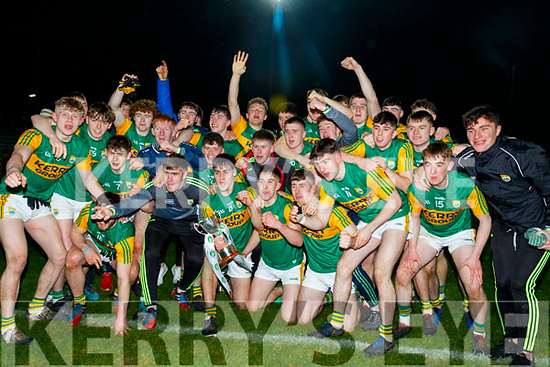 The Kerry U20 team celebrate after defeating Cork in the Eirgrid Munster Football final, in Tralee last Wednesday March 4.