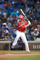 Nolan Gorman (9) of Sandra Day O'Connor High School in Glendale, Arizona at bat during the Under Armour All-American Game presented by Baseball Factory on July 29, 2017 at Wrigley Field in Chicago, Illinois.  (Mike Janes/Four Seam Images)
