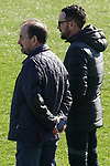 Getafe's President Angel Torres (l) and coach Jose Bordalas during training session. February 19,2020.(ALTERPHOTOS/Acero)
