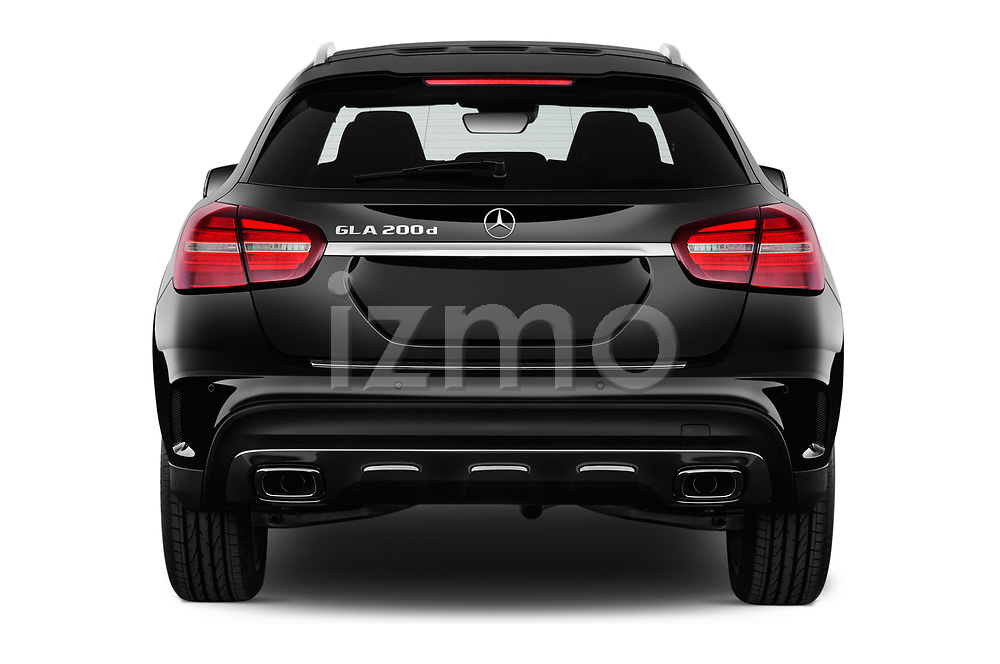 Straight rear view of 2017 Mercedes Benz GLA AMG Line 5 Door SUV stock images