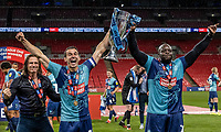 Wycombe Wanderers' Gareth Ainsworth (left) , Matthew Bloomfield and Adebayo Akinfenwa (right) <br /> <br /> Photographer Andrew Kearns/CameraSport<br /> <br /> Sky Bet League One Play Off Final - Oxford United v Wycombe Wanderers - Monday July 13th 2020 - Wembley Stadium - London<br /> <br /> World Copyright © 2020 CameraSport. All rights reserved. 43 Linden Ave. Countesthorpe. Leicester. England. LE8 5PG - Tel: +44 (0) 116 277 4147 - admin@camerasport.com - www.camerasport.com