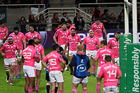 Players of Stade Francais look dejected during the Challenge Cup match between Section Paloise and Stade Francais on March 30, 2018 in Pau, France. (Photo by Manuel Blondeau/Icon Sport)
