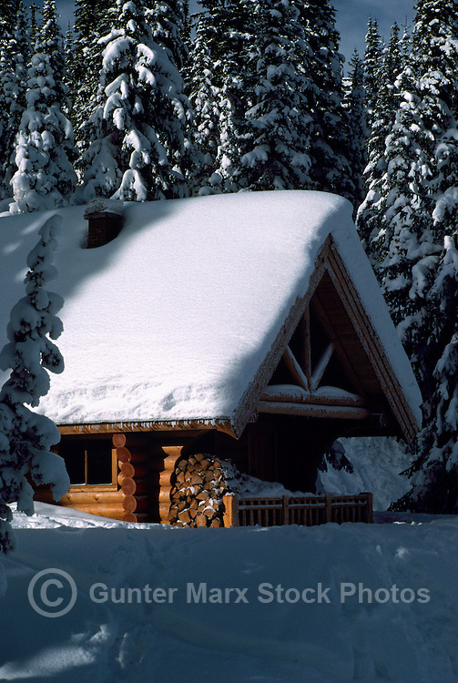 Snow Covered Log Cabin at Stagleap Provincial Park, Kootenay Pass Summit, BC,  British Columbia, Canada - BC Rockies Region, Winter