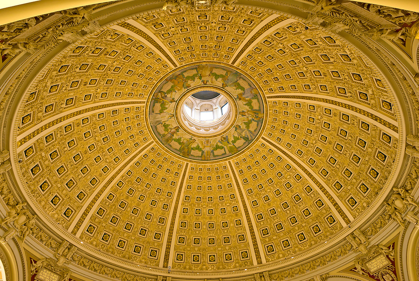 Ceiling above the Main Reading Room, The Library of Congress (Thomas Jefferson Building), Washington D.C., U.S.A.