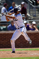 Outfielder Brance Rivera #5 of the Texas Christian University Horned Frogs at bat during the NCAA Regional baseball game against the Ole Miss Rebels on June 1, 2012 at Blue Bell Park in College Station, Texas. Ole Miss defeated TCU 6-2. (Andrew Woolley/Four Seam Images)
