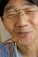 "Shoichi Uchiyama after eating the head of a locust.Tokyo resident Shoichi Uchiyama is the author of ""Fun Insect Cooking"". His blog on the topic gets 400 hits a day. He believes insects could one day be the solution to food shortages, and that rearing bugs at home could dispel food safety worries."