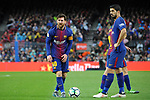League Santander 2017/2018. Game: 28.<br /> FC Barcelona vs At. Madrid: 1-0.<br /> Lionel Messi &amp; Luis Suarez.