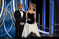 Taron Egerton and Amber Heard present at the 76th Annual Golden Globe Awards at the Beverly Hilton in Beverly Hills, CA on Sunday, January 6, 2019.<br /> *Editorial Use Only*<br /> CAP/PLF/HFPA<br /> Image supplied by Capital Pictures